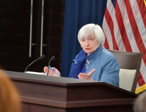 Fed Chairwoman Janet Yellen speaks at a press conference to announce the central bank's rate increase on December 14, 2016. Photo credit: Federal Reserve via Flickr.