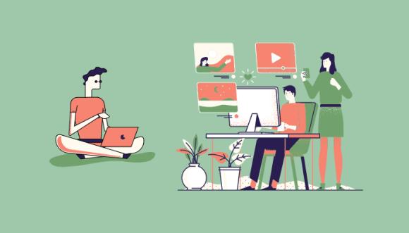 Cette image verte et orange représente le recrutement à distance.  Une personne est assise en tailleur face à son ordinateur, à coté d'elle se trouve deux personnes derrière un bureau fassent à un ordinateur, elles visualisent des photos, des vidéos...