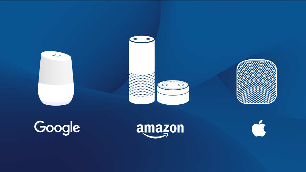 Assistants vocaux de différentes marques : Google Home, Amazon Alexa, Siri Apple