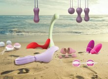 Kegel products arranged on a beach
