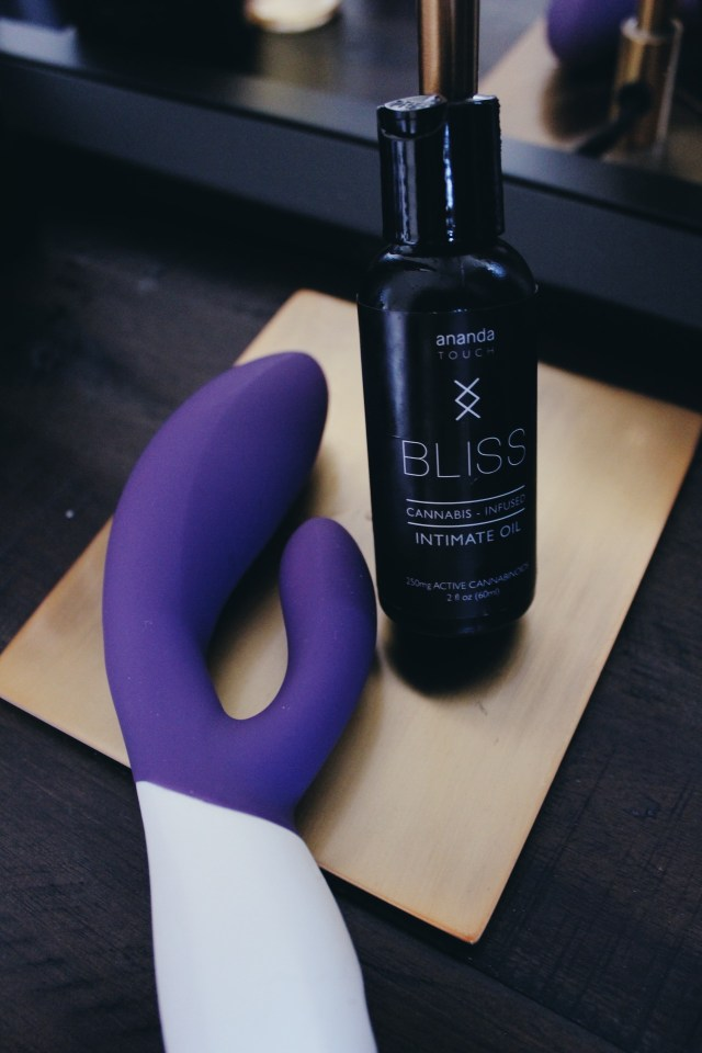 Bliss CBD Intimate Oil shown with a LELO Ina