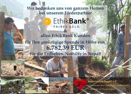 EthikBank sammelt 6700 Euro Spenden für unseren hamromaya Nepal e.V.