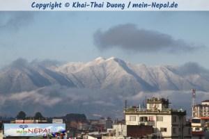 Schnee im Kathmandu-Tal.