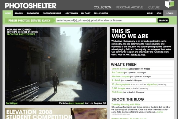 Photoshelter home page