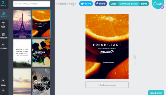 Canva makes it extremely simple to create a design from a full databa