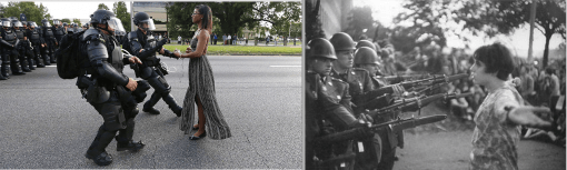 Deja vu : referencing classics is a double edge sword. Ultimately, the photo becomes the story. @ Jonathan Bachman / Reuters and @Marc Riboud