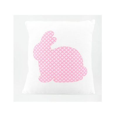 coussin blanc lapin rose
