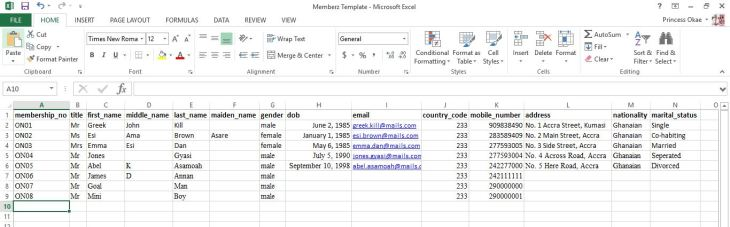 Updating the import template with your membership data