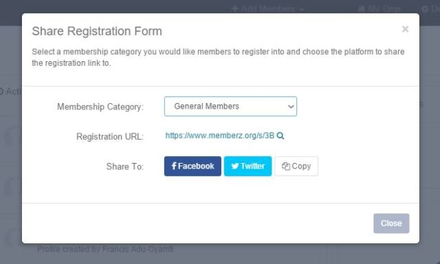 Share Registration Form Feature