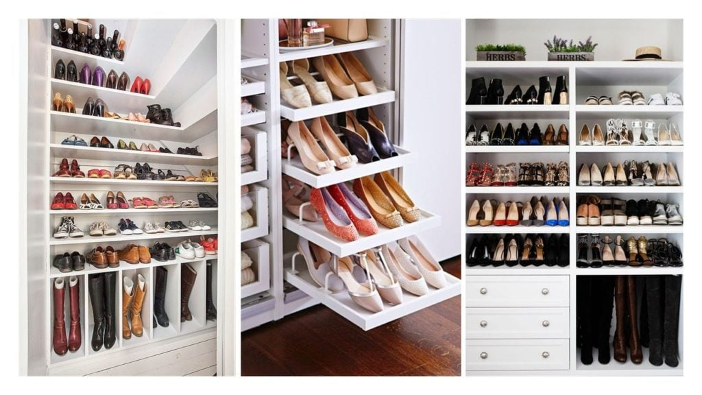 uma prateleira de sapatos organizados