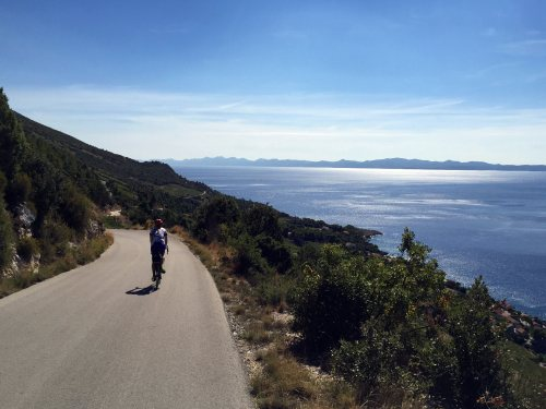 Cycling along Peljesac vineyards