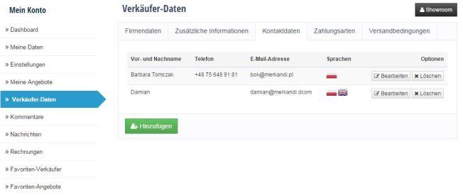 Verkäufer Daten -Kontaktdaten