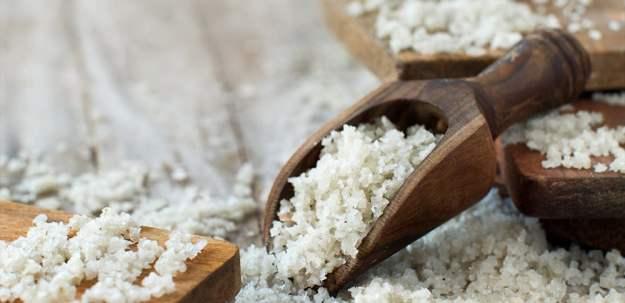 Coarse Celtic Salt in wooden scoop spoon