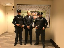 GO Transit Safety Officers Arjun Kapadiya and Stephan Fahel being awarded by Metrolinx President & CEO Phil Verster