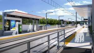 In an artist's rendering, outlines of people wait on a platform on a sunny day.