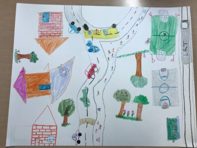 A child's drawing shows buildings and where transit interacts with streets. There are trees and a basketball court as well.