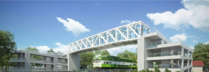 n artist rendering shows a high, white bridge over tracks as a GO train runs underneath. In the concept, the crossover has glass to look out of.