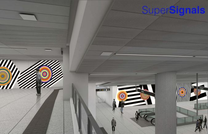Artwork is shown in an artist's rendering, including circles and lines on walls.