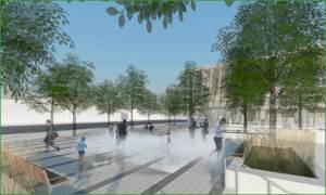 Artist's rendering of a parkette with people playing in a mister during a hot summer day.