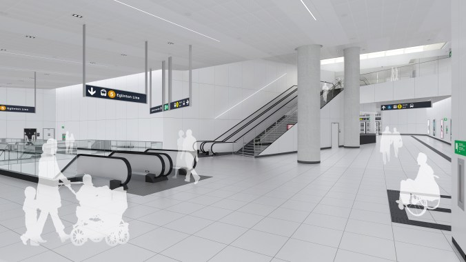 An artist rendering shows customers arriving inside a clean and bright space, including escalators between levels.