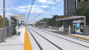 In this artist concept, customers wait for a light rail transit vehicle while on the platform.