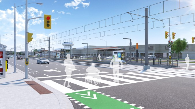 An artist concept shows customers crossing the road to get to the LRT stop.