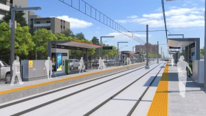 The artist's concept sees customers walking along the platform.