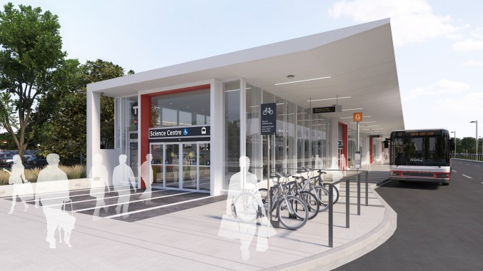 An artist concept shows customers walking in and out of an entrance to the new station. A TTC bus sits nearby.