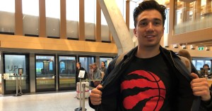Mike DaCosta – a newborn Raptors fan – is shown after arriving at the UP Express station at Union Station.