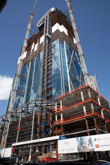 Crews work on the CIBC SQUARE building.