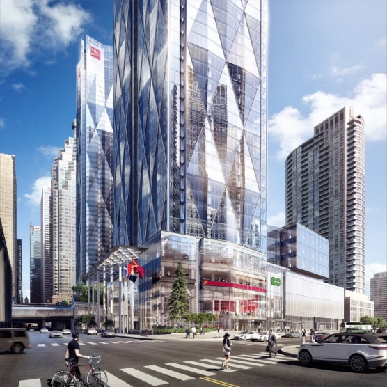 A rendering shows a high, glass tower.