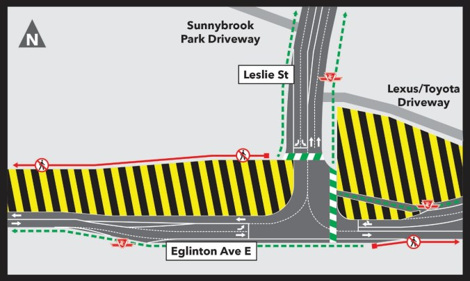 A diagram showing the construction and lane configurations at Leslie and Eglinton