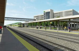In a rendering, passengers walk on the platform as a GO train leaves the station.