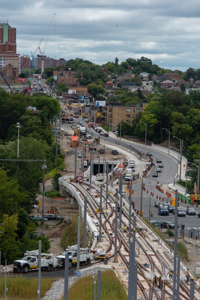 An aerial view of Eglinton Avenue where an elevated guideway is being installed for the LRT