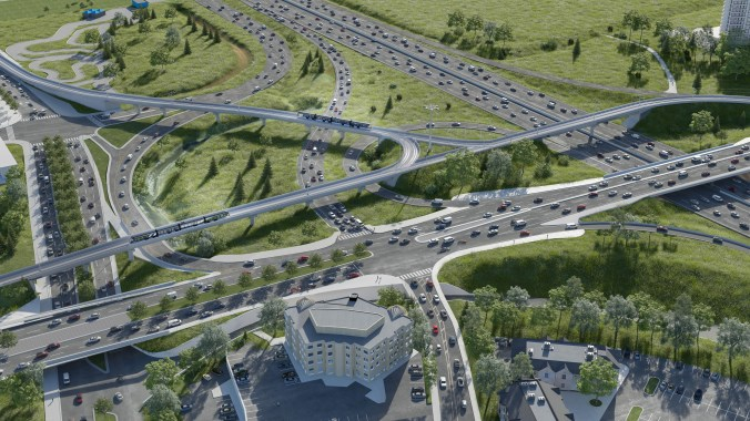 Rendering shows the LRT above a busy highway.