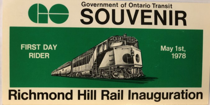 A souvenir ticket, with a GO train depicted on the front, and 'Richmond Hill Rail Inauguration' written across, is shown.