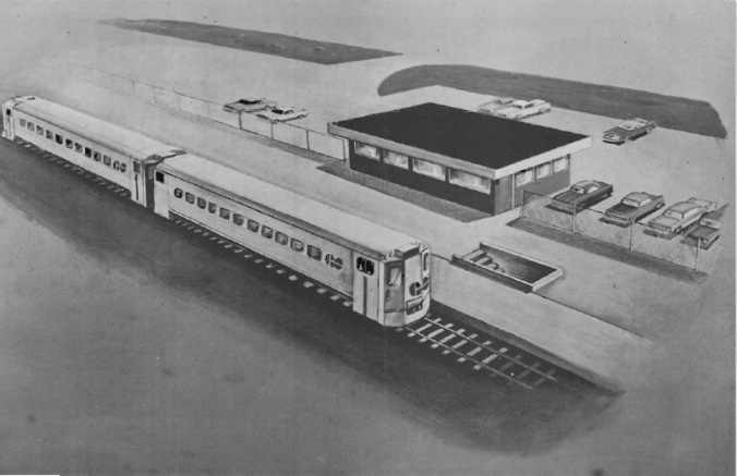A rendering showing a simple train station with a GO train at the platform.