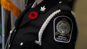 Image shows a Transit Safety officer with a poppie on their uniform.