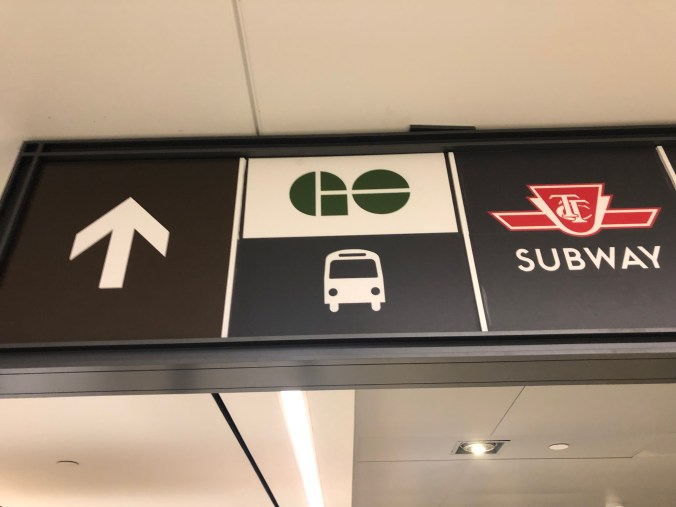 Signage at Union Station showing GO and TTC