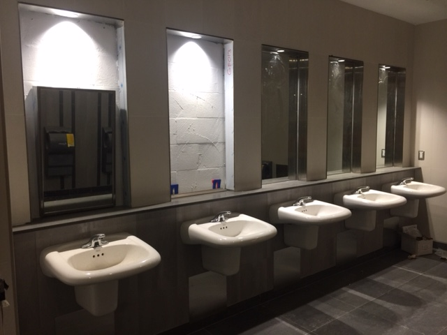 Image shows a bank of sinks.