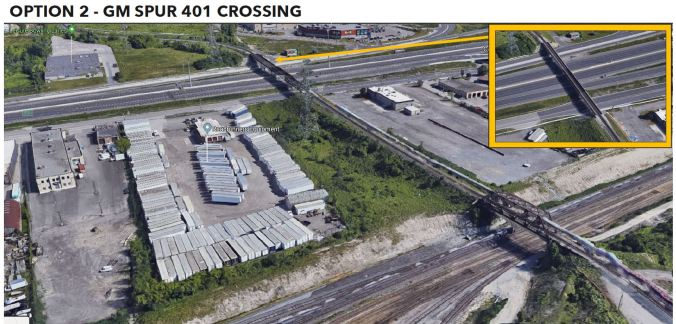 Image is a Google map showing the GM spur across Hwy. 401.