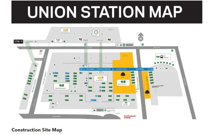 Construction Map of Union Station showing closures