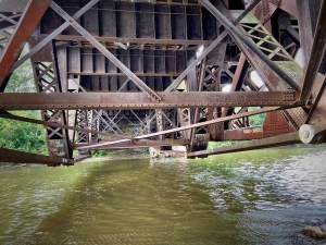 The underside of the rail bridge at Port Credit in Mississauga