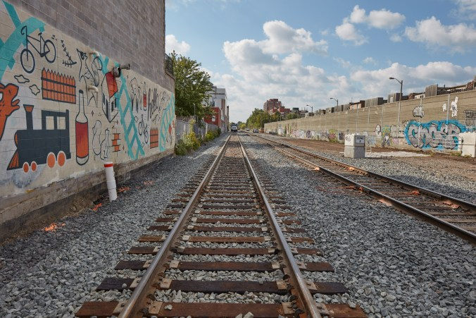 Photo of the diversion track south of Wallace Street in Toronto near the Davenport Diamond