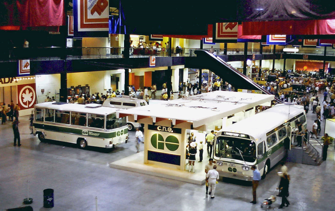 Photo of GO Buses on display at the CNE in 1970