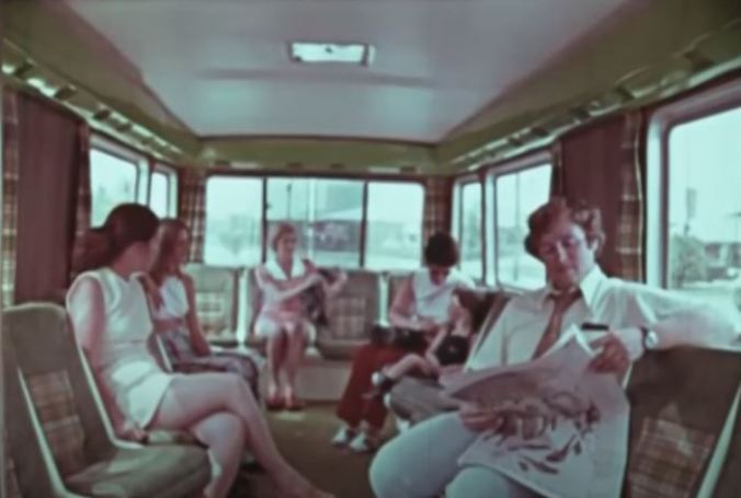 This is the seating configuration inside a Dial-A-Bus. I was smaller than a traditional bus but bigger than an Uber XL. (Still image from the Ontario Archives short documentary People on the GO)