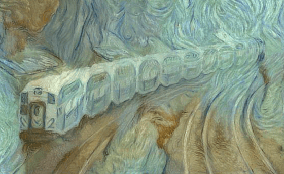 Image shows GO train as if painted with a brush.