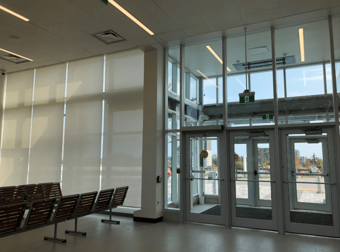 Image shows the front doors and seating area