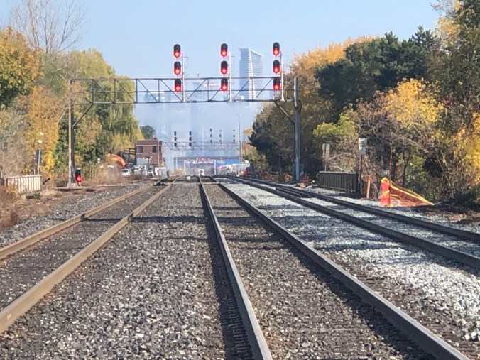 Looking down the tracks on the Lakeshore West line on a fall day