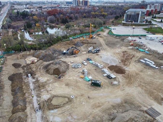 Image shows a large construction area.